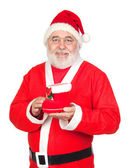 Smiley Santa Claus with a Christmas boot — Stock Photo