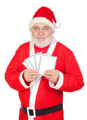 Santa Claus with envelopes for sending letters — Stock Photo