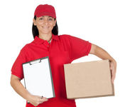 Beautiful dealer with box and clipboard — Stock Photo