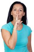 Adorable woman for silence — Fotografia Stock