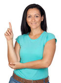 Adorable woman with blue t-shirt asking to speak — Stock Photo
