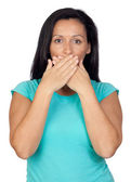 Adorable woman covering her mouth — Stock Photo