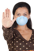Girl with mask stopping influenza A — Stock Photo