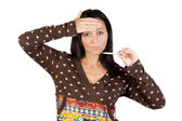 Sick girl with thermometer — Stock Photo