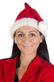 Beautiful girl with with Santa Claus hat — Stock Photo