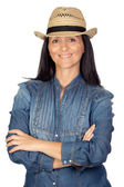 Adorable woman with straw hat — Stock Photo