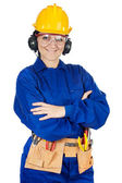 Lady construction worker — Stock Photo