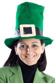 Woman with a hat green — Stock Photo