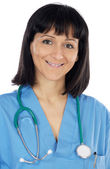Lady doctor whit blue overall — Stock Photo