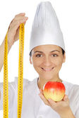 Attractive woman happy cook — Stock Photo