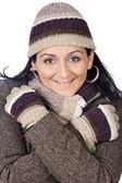 Signora attraente al riparo per l'inverno — Foto Stock