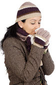 Aantrekkelijke dame beschut voor de winter drinken een kopje thee — Stockfoto
