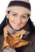 Signora al riparo per l'inverno — Foto Stock
