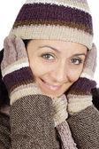 привлекательной леди приютила на зиму — Стоковое фото