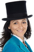 Attractive business woman with hat — Stock fotografie