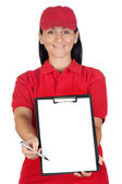 Beautiful dealer with clipboard with focus on face — Stock Photo