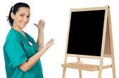 Lady doctor whit slate — Stock Photo