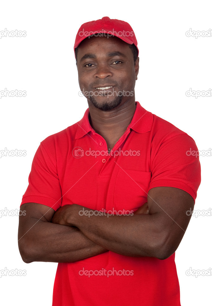 Worker courier with red uniform isolated on a over white background  Stock Photo #9501012
