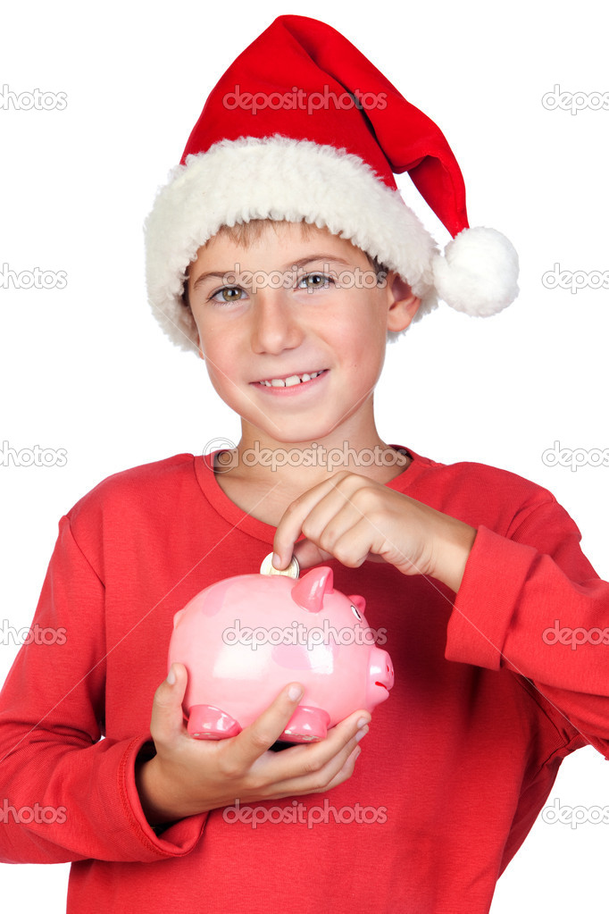 Adorable child saving with Santa Hat isolated on white background — Stock Photo #9501874