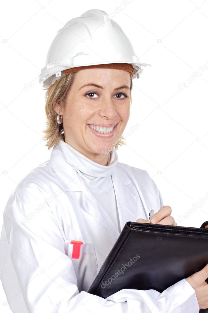Attractive young engineer over a white background — Stock Photo #9502612