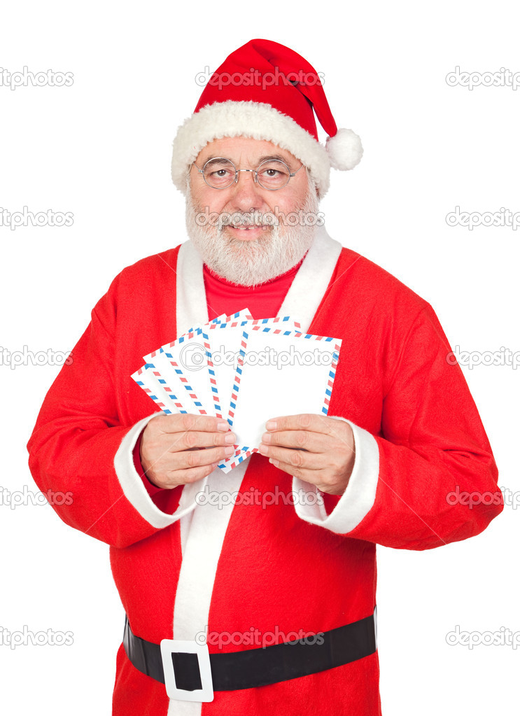 Santa Claus with envelopes for sending letters on white background — Stock Photo #9504242