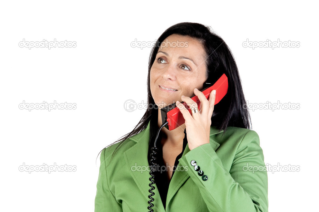 Businesswoman on the telephone isolated on white background — Stock Photo #9506888