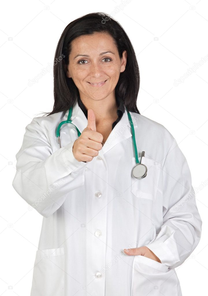 Happy doctor woman saying OK isolated on white background — Stock Photo #9506911