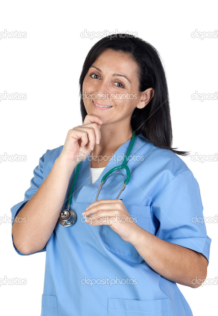 Attractive doctor woman thinking isolated on white background — Stock Photo #9507295