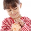 Girl whit money box — Stockfoto