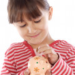 Girl whit money box — Stock fotografie