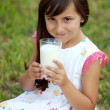 Girl drinking milk — Stock Photo #9625074