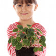 Girl with a plant — Stock Photo