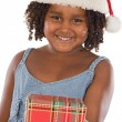 Beautiful girl with hat of Santa Claus — Stock Photo