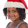 Beautiful girl with hat of Santa Claus - Stock Photo