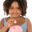Girl whit money box - Foto Stock
