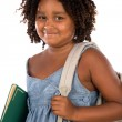 African girl student with folder and backpack — Stock Photo