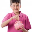 Adorable child with moneybox savings — Stock Photo