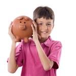Child with moneybox savings — Stock Photo
