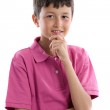 Thoughtful boy with pink clothes — Stock Photo #9625625