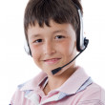 Adorable child with headphones — Stock Photo #9625667