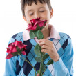 Boy smelling a flower — Stock Photo