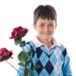 Boy offering flowers — Stock Photo #9625676
