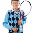 Adorable boy with racket of tennis — Stock Photo #9625720