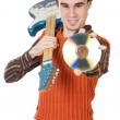 Attractive musical young person - Stock Photo