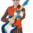 Attractive musical young person (with focus in disk) — Stock Photo #9625749