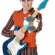 Attractive musical young person (with the focus in the disk) — Stock Photo