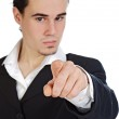 Attractive young person businessman indicating with the finger, — Stock Photo