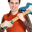 Boy with electrical guitar - Stock Photo