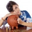 Stock Photo: Girl whit money box
