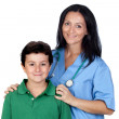 Adorable child with a pediatrician woman — Stock Photo